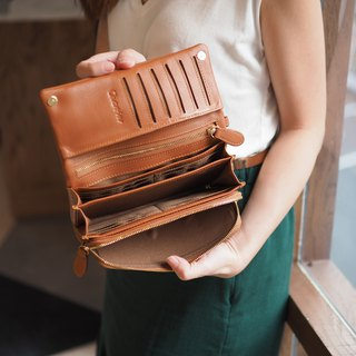 Mousse wallet (Brown-orange): Long wallet, cow leather wallet