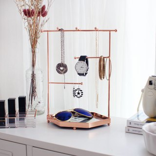 Rose Gold Jewelry Tray with mirror (Hexigon)