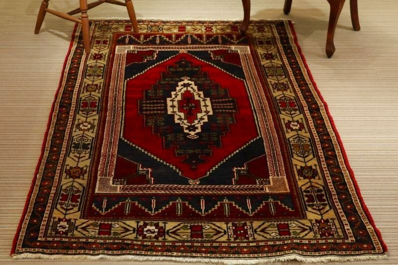Handmade carpet special wool rug traditional design Turkish kilim 217×128cm