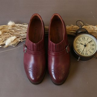 [Can Lulu era] manual rub color carved shoes - wine red