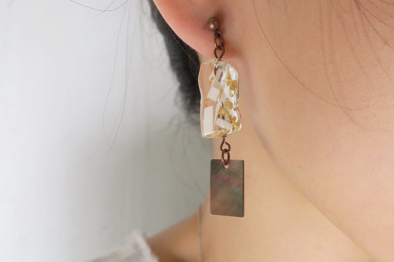 OUD Original. Handmade Geometric - Shell With Gold Foil Earring/Clip-on
