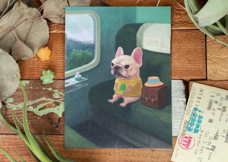 Frenchbulldog postcard / Like to sit on side of the window / Magger daily series