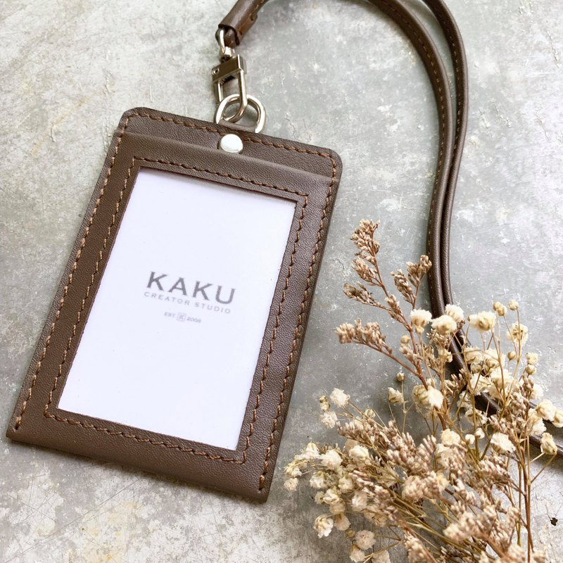 KAKU leather design customized identification card holder leisure card holder ID clip dark brown