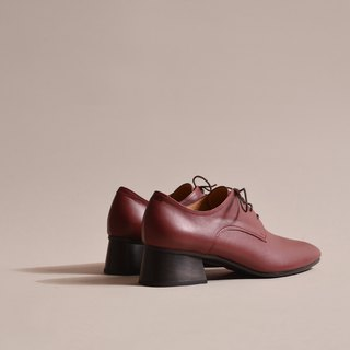Square derby shoes red wine
