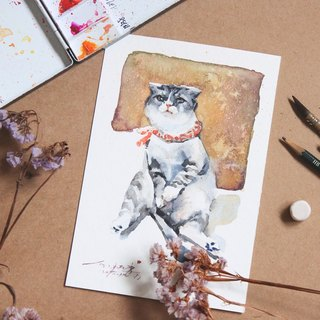 Chiao Ji hand-painted watercolor - customized pet portrait - [frame / single]
