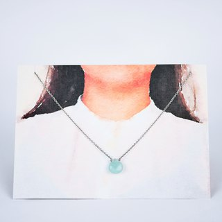 [Natural stone series] Amazon stone flat drop type silver necklace