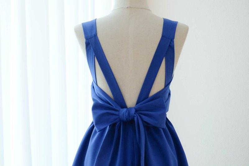 皇家藍色伴娘禮服露背派對雞尾酒短禮服