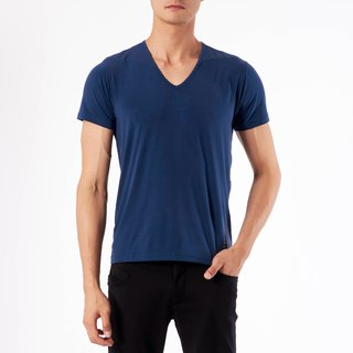 Copper Ammonia Comfort V-neck Tee - Blue