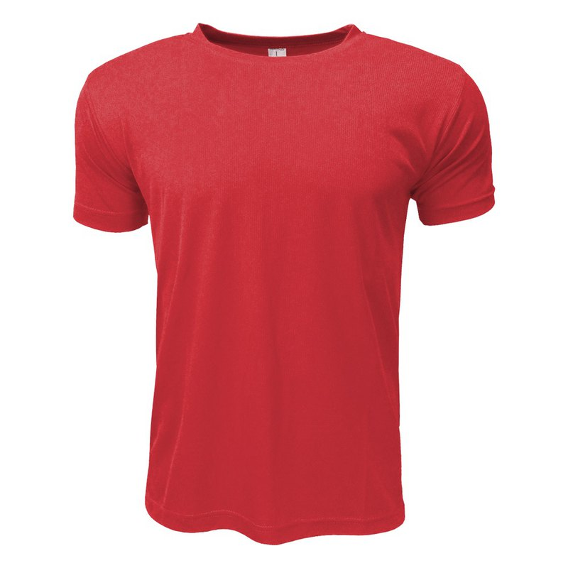 3D straight striped moisture wicking round neck T :: Red:: men and women can wear 160806
