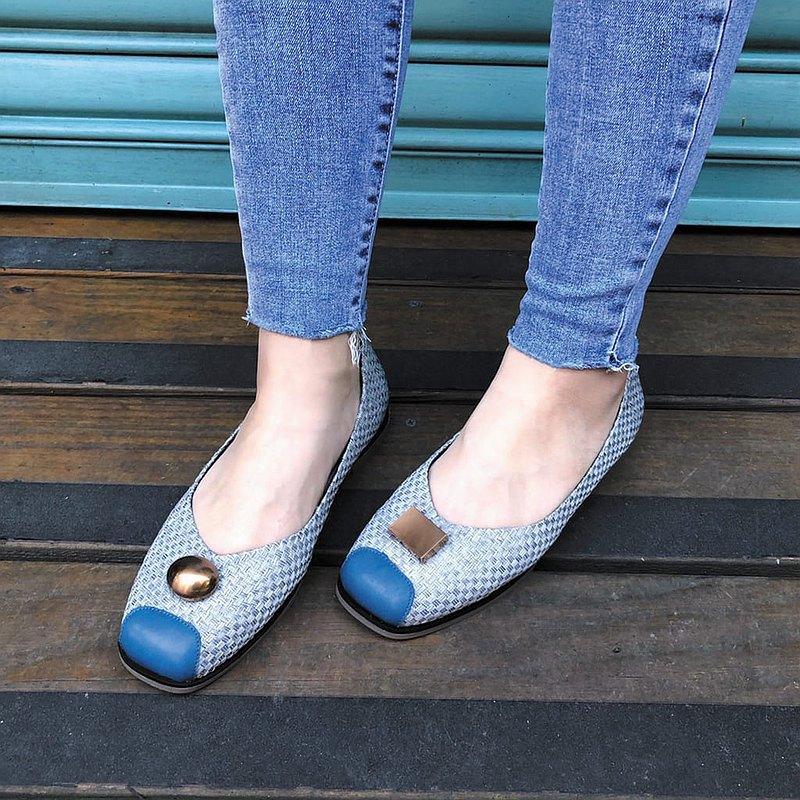 【隨方就圓】釋壓舒緩方頭編織娃娃鞋_天空藍