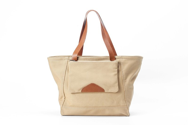 Minimalist Casual Tote Bag / Shoulder bag in Water Resistant Canvas Khaki