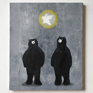 【IROSOCA】 Bear canvas painting looking up angel F8 size original picture