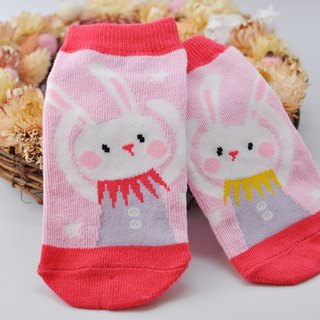 【HABBI TWO】 Taiwan original cotton stockings ★ Pink rabbit dancing