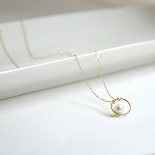 Necklace / k10 Circle pearl Necklace / Ko鍊 Chintama gold 10 圈