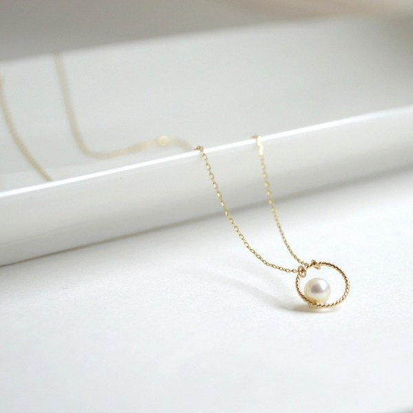 Necklace/k10 Circle pearl Necklace/項鍊 珍珠 金10 圈