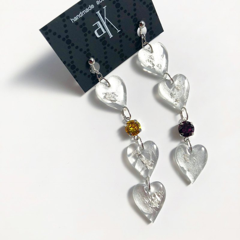 Heart 3 long earrings-silver