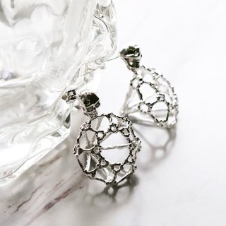 Rough Diamonds Skull Collection - The Uncommon Defy Project - Silver Plated - Skull Diamond Skeleton Earrings - UCSE103 - Original by Defy