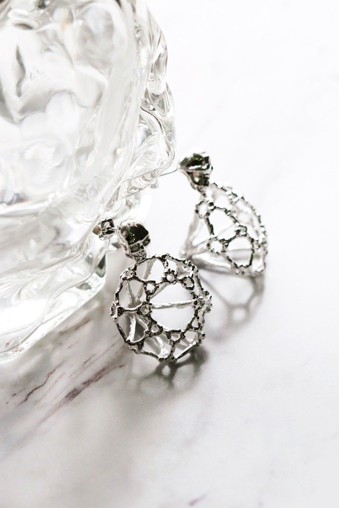 Rough Diamonds Skull Collection - The Uncommon Defy Project - Silver Plated - Skull Diamond Skeleton Earrings - UCSE103 - Original by Defy.
