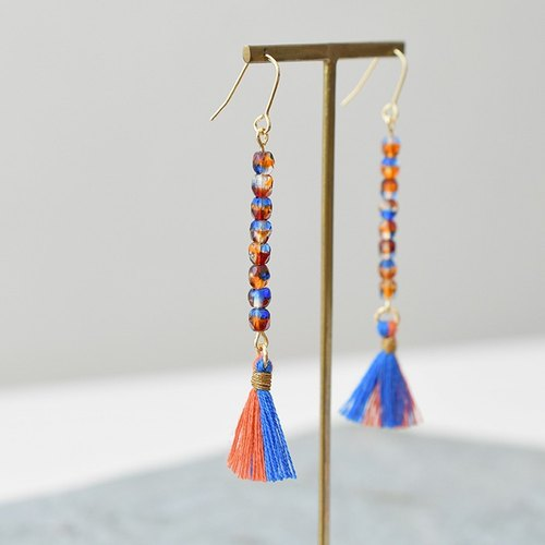 Tassel earrings water drop /blue