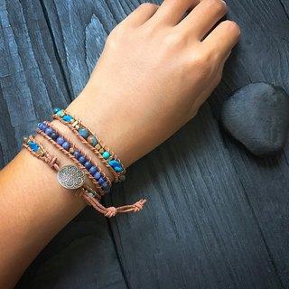 Natural stone woven bracelet - blue / three ring natural stone sandstone custom products