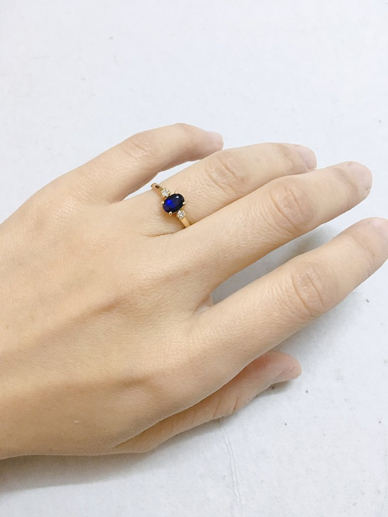 Sapphire with Diamond Gold Ring 14K Handmade in Nepal