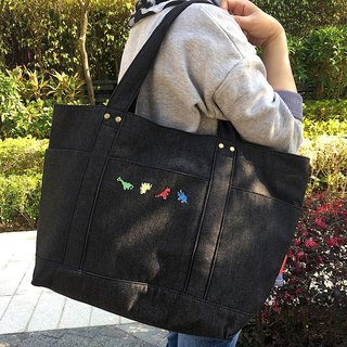 Dinosaur Embroidery Washed Denim Tote / XLarge
