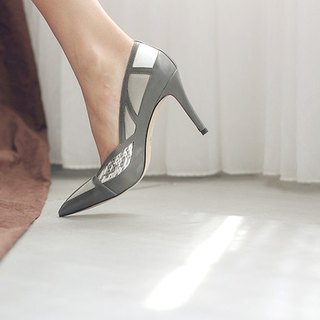 Broken geometric cut surface pointed leather fine high heel gray