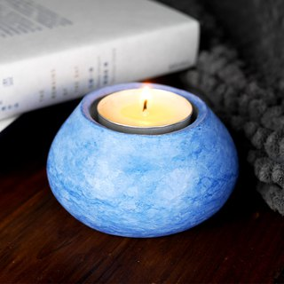 Blue Stucco Candle Holder