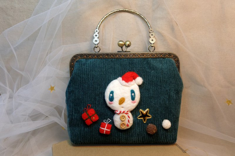 Christmas gift exchange gift [hanging a small star for you] Meng fried small snowman handmade gold bag
