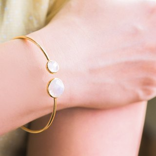 Minimalist Double Round Natural Stone Bracelet - Moonstone 925 Sterling Silver