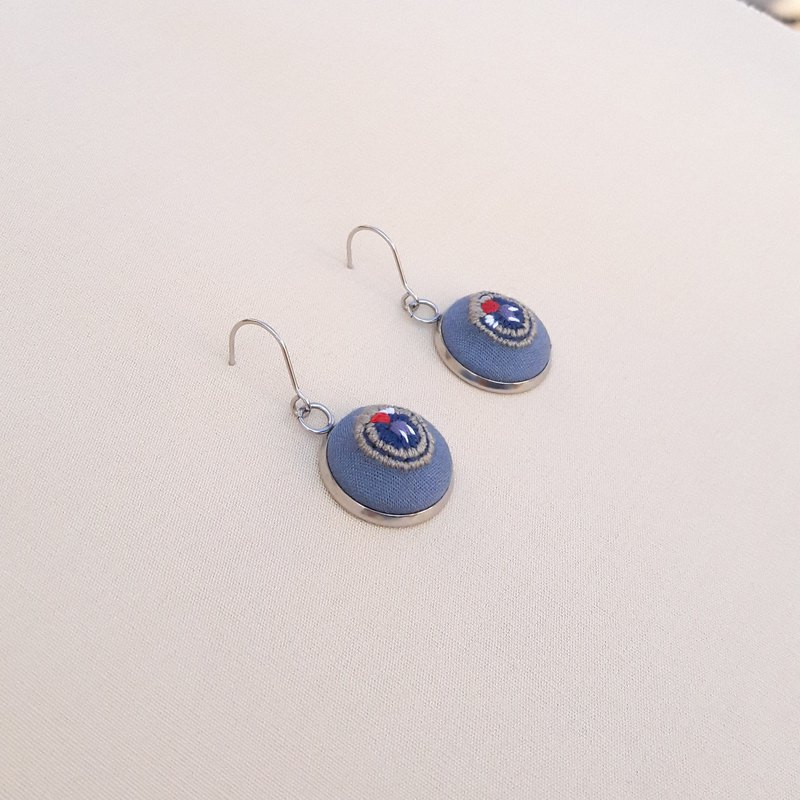 Moth eye patch hand embroidery earrings