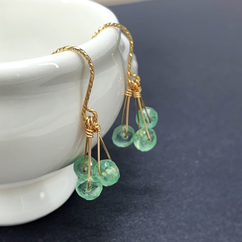 Light through the emerald top green apatite US 14K gold earrings light jewelry