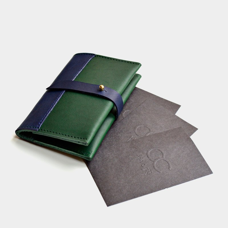 【Conference room in the sea】 Italian vegetable tanned leather business card holder leather card folder leisure card holder blue green leather stitching Valentine's Day gift guest carved letter when the gift