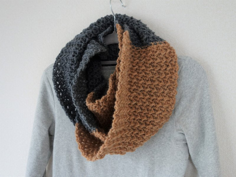 Long snood, scarf, persimmon color and gray, wool, alpaca, handknit