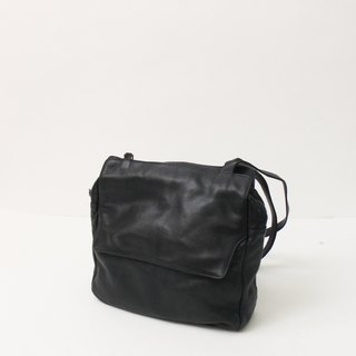 Vintage Leather Large Capacity Simple European Black Side Backpack Vintage Bag European Vintage Bag