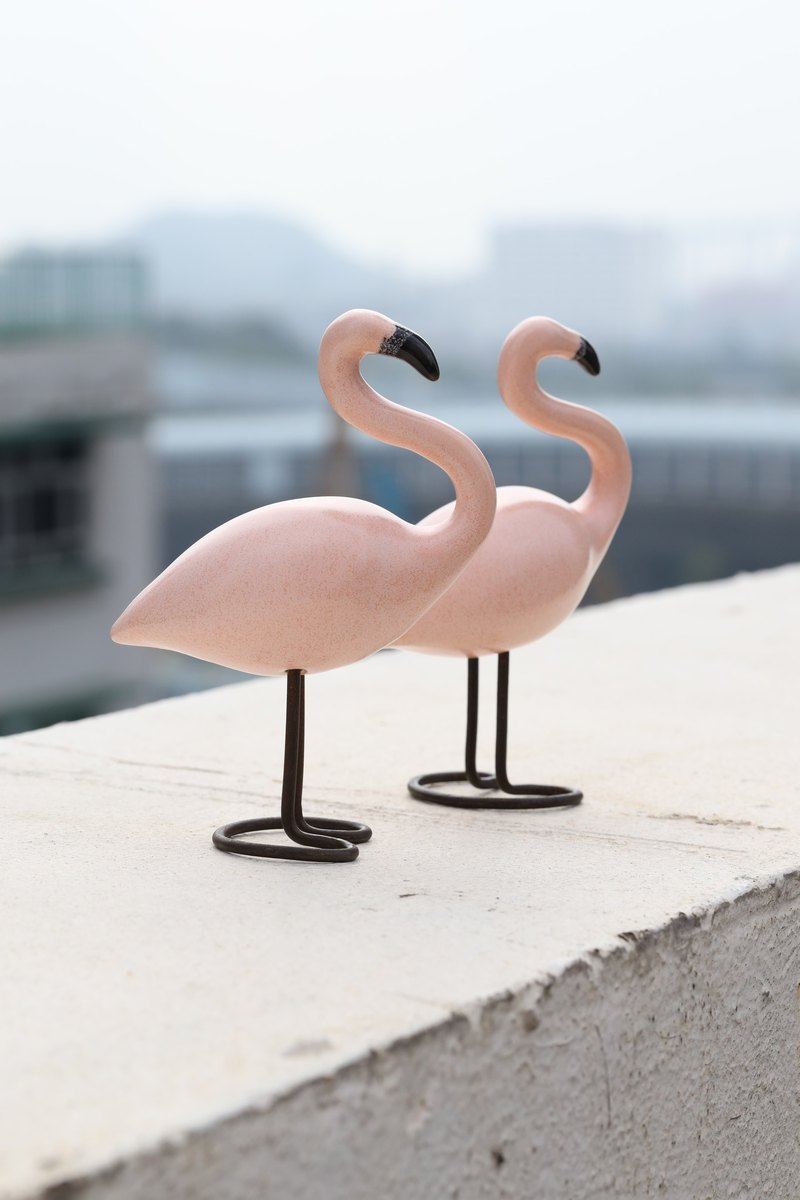 Handmade Polish Ceramic Flamingo Bird - 15 cm tall