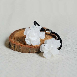 Beautiful dance, double flower hair bundle, hair ring - white