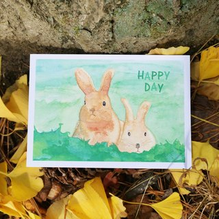 Lovely Animal watercolor postcard, Greeting card, Birthday card, print - rabbits