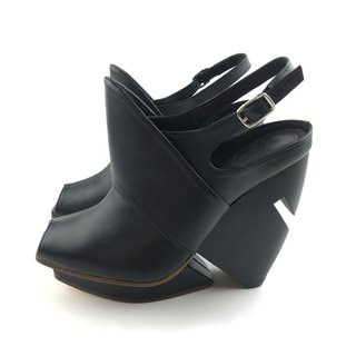 [The Deep] Mitsukurina owstoni - Black Leather Handmade Heels