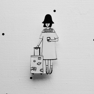 Miss Hairy Collection / Black and White Brooch / 018