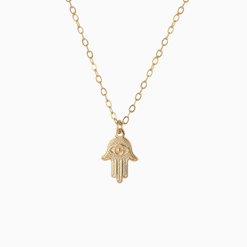 Mini Hamsa Hand and Evil Eye Necklace - 14K Gold Filled