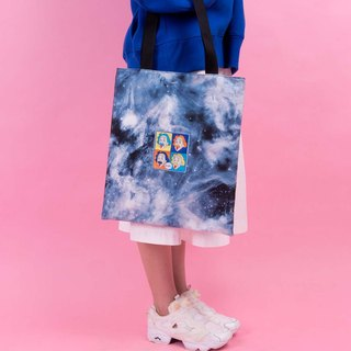 KIITOS I WANT TO universe theme cotton original embroidered printed shoulder bag - Einstein models