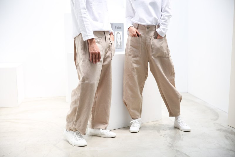 Big Pocket Wide-Leg Trousers Khaki Trousers Unisex Original Brand