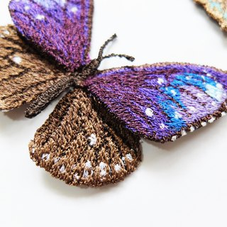 Embroidery Butterfly Brooch / Striped Blue Crow Butterfly (medium)