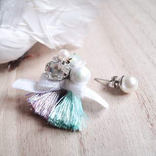 Hand-beaded Cotton pearls Jewelry with Tassels Earrings/Ear-clips