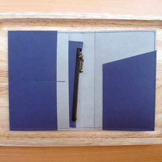 l Travel season discount l blue x gray washed kraft paper | passport holder with a wallet