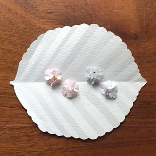 Pierced hydrangea Paper Flower Earrings