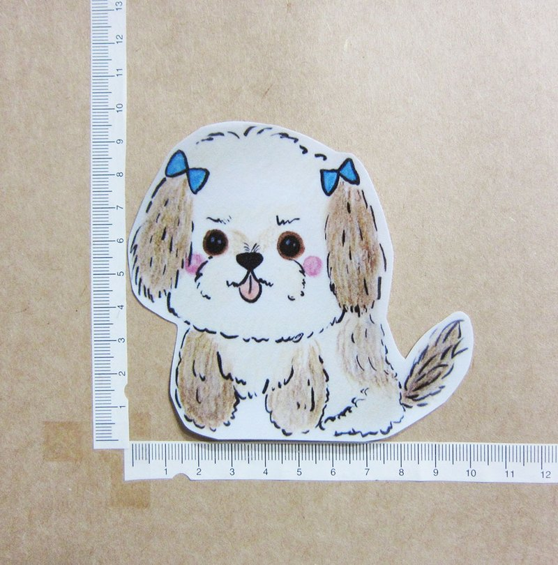 Hand-painted illustration style perfectly waterproof sticker Shih-Shih Shih Tzu