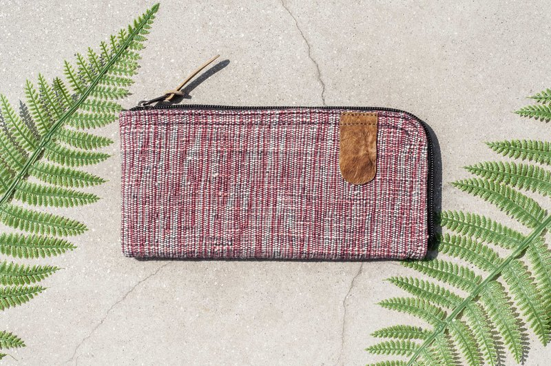 Handmade cotton and linen wallet / woven stitching leather long clip / long wallet / coin purse / woven wallet - gradient red