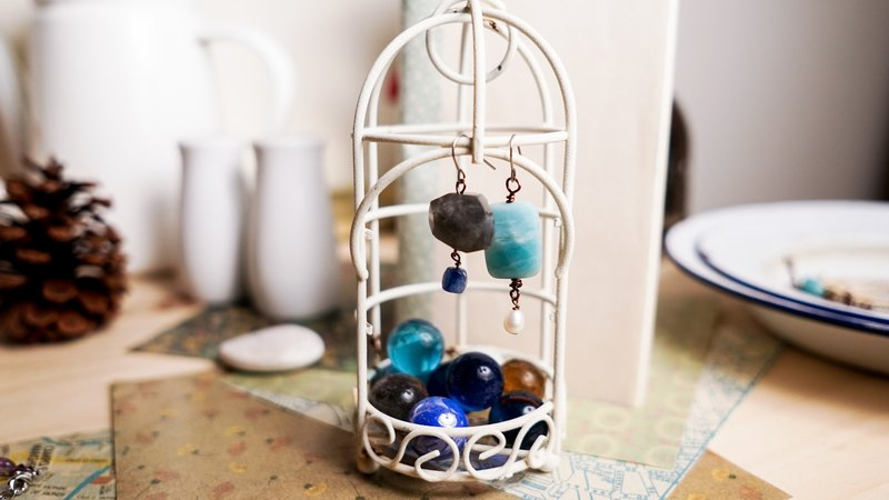 [You] have their own hand-made of natural stone light earrings (interchangeable clip-on)
